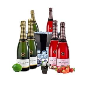 Vin spumant alb si rose Pere Ventura, 0.75L, 3 + 3 sticle + Frapiera + Stopper