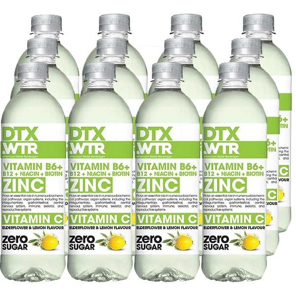 Apa cu vitamine DTX.WTR Zinc&Vitamin C Elderflower&Lemon bax 0.5L x 12 sticle