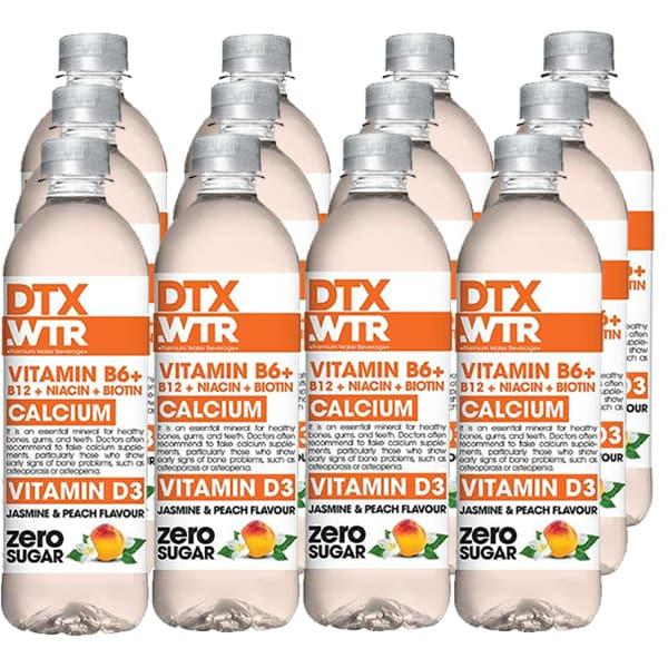 Apa cu vitamine DTX.WTR Calcium&Vitamin B3 Jasmine&Peach bax 0.5L x 12 sticle