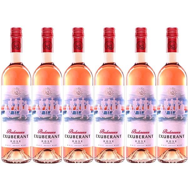 Vin rose demisec BUDUREASCA Exuberant Rose, 0.75L, 6 sticle