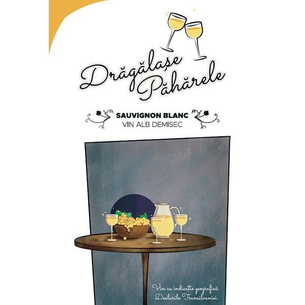 Vin alb demisec Jidvei Dragalase Paharele Sauvignon Blanc, 10L, Bag in Box