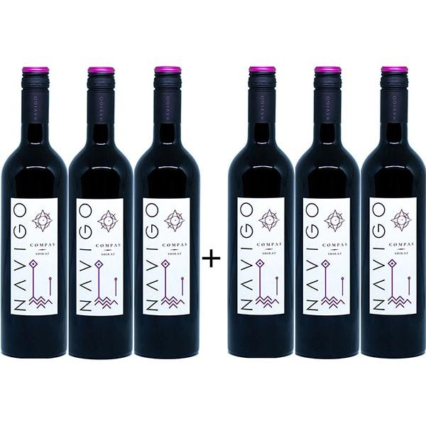 Vin rosu sec Navigo Compas Shiraz, 0.75L, 6 sticle