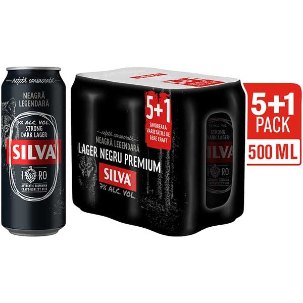 Bere neagra SILVA Strong Larger promo bax 0.5L x 6 cutii