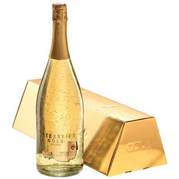 Vin spumant demisec cu foita de aur alimentar 23K Osterreich Gold, 1.5L