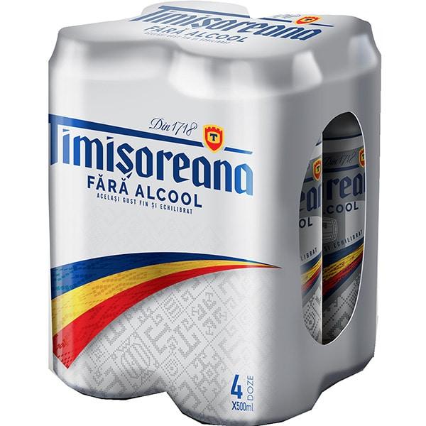 Bere blonda fara alcool TIMISOREANA bax 0.5L x 4 doze