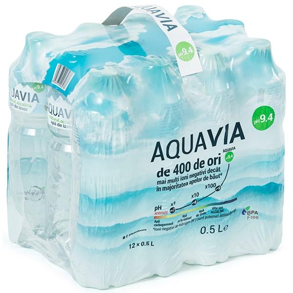 Apa plata alcalina AQUAVIA bax 0.5L x 12 sticle