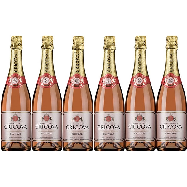 Vin spumant rose Cramele Cricova Brut, 0.75L, 6 sticle