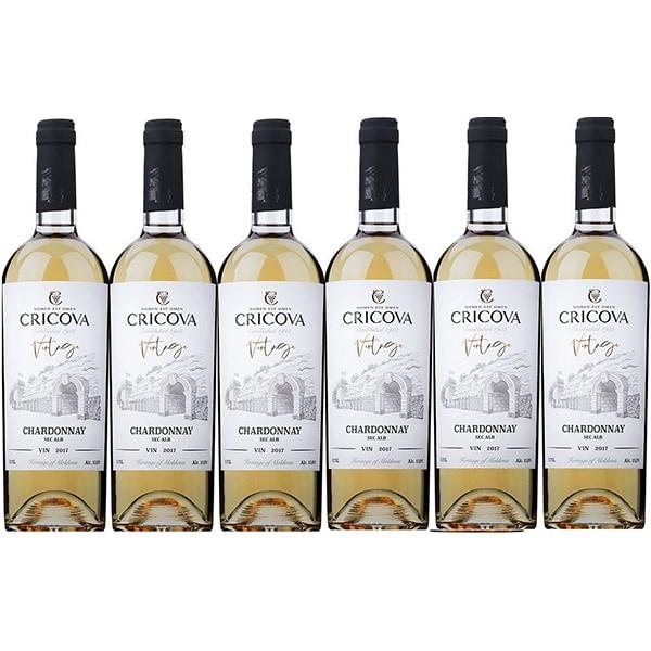 Vin alb sec Cramele Cricova Vintage Chardonnay, 0.75L, 6 sticle