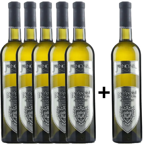 Vin alb sec Tohani Princiar Special Reserve Chardonnay, 0.75L, 5+1 sticle