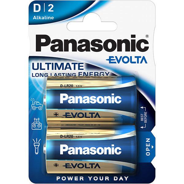 Baterii PANASONIC Evolta Alkaline LR20/D, 2 bucati