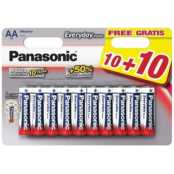 Baterii PANASONIC Everyday Power LR6/AA, 20 bucati