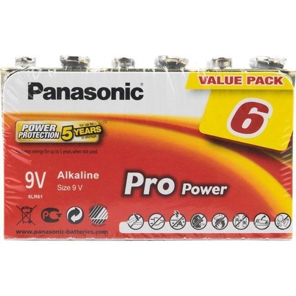 Baterie PANASONIC Pro Power Alkaline 6LR61/9V, 6 bucati