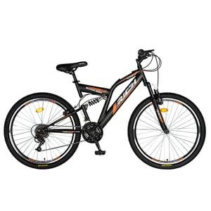 """Bicicleta de munte RICH R2449A, 24"""", cadru otel, negru-portocaliu"""