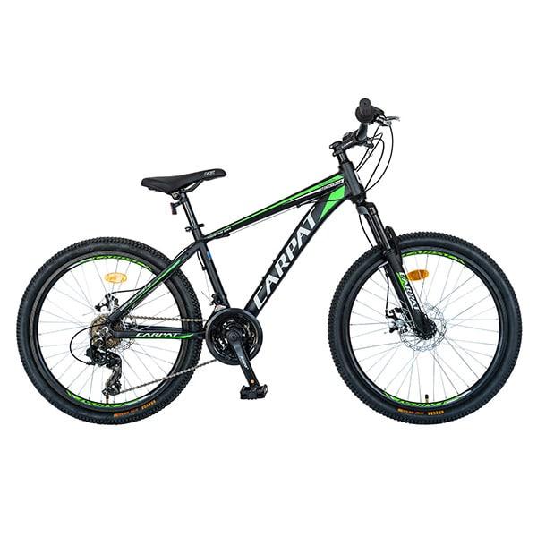 """Bicicleta de munte CARPAT C2499A, 24"""", cadru aluminiu, negru-verde"""