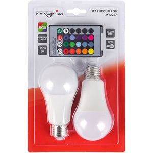 Set 2 becuri LED RGB MYRIA MY2257, E27, 12W, Telecomanda