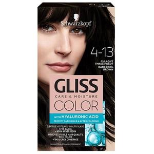 Vopsea de par SCHWARZKOPF Gliss Color,  4-13 Saten Inchis Rece, 143ml