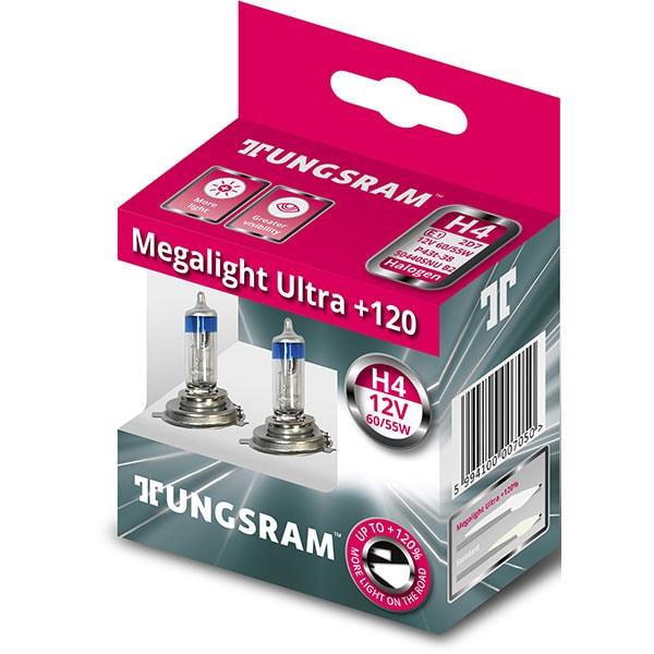 Set 2 becuri auto halogen TUNGSRAM Megalight Ultra, 55W, 12V, H4