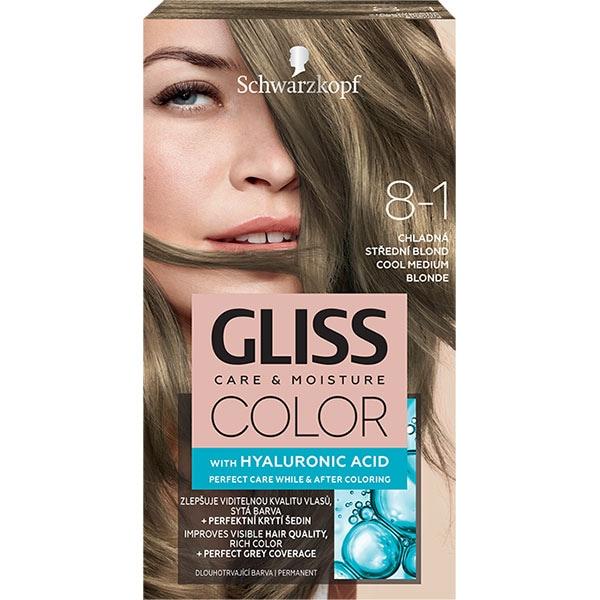 Vopsea de par SCHWARZKOPF Gliss Color, 8-1 Blond Mediu Rece, 143ml