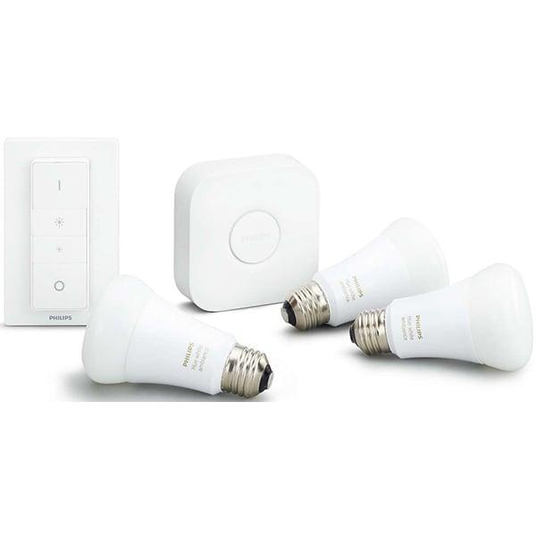 Kit 3 becuri LED PHILIPS Hue A60 9.5W (60W), E27, Lumina alba + Consola + Intrerupator cu variator