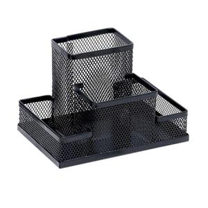 Suport accesorii birou MEMORIS Precious Mesh, 4 compartimente, metal, negru