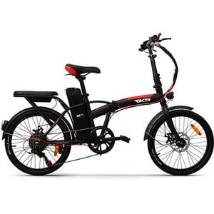 Bicicleta electrica pliabila RKS MX35, 20 inch, negru-rosu