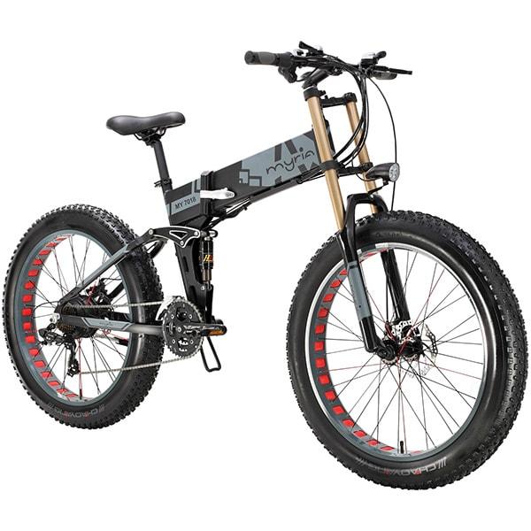 Bicicleta electrica pliabila FAT BIKE MYRIA MY7018, roti 26 inch, motor 350W, acumulator 36V 7,8 Ah, 21 de viteze