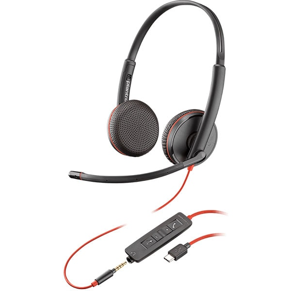 Casca Call Center PLANTRONICS Blackwire C3225, USB-C, 3.5mm, Binaural, negru