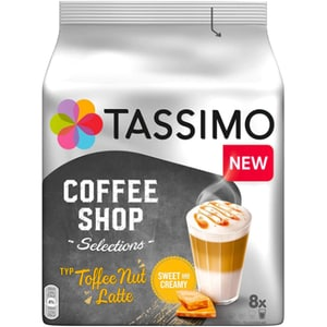 Capsule cafea JACOBS Tassimo Coffee Shop Toffee Nut Latte, 8 capsule cafea + 8 capsule lapte, 268g