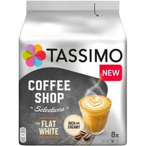 Capsule cafea JACOBS Tassimo Coffee Shop Flat White, 8 capsule cafea + 8 capsule lapte, 220g
