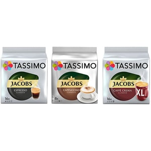 Set 3 x Capsule cafea JACOBS Tassimo Mixed Pack, 48 capsule, 511.2g
