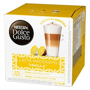 Capsule cafea NESCAFE Dolce Gusto Vanilla Latte Macchiato, 8 capsule cafea + 8 capsule lapte, 153.6g