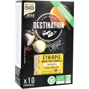 Capsule cafea DESTINATION Ethiopie Moka Pur Arabica Bio compatibilitate cu Nespresso, 10  capsule, 55g