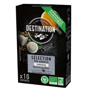 Capsule cafea DESTINATION Selection Pur Arabica Bio compatibilitate cu Nespresso, 10  capsule, 55g