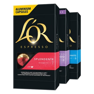 Set capsule cafea L'OR: 10 buc Espresso Splendente + 10 buc Lungo Profondo + 10 buc Espresso Decaffeinato, 156g