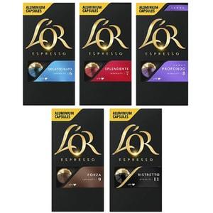Set capsule cafea L'OR: 10 buc Espresso Splendente + 10 buc Lungo Profondo + 10 buc Espresso Decaffeinato + 10 buc Espresso Forza + 10 buc Espresso Ristretto, 260g