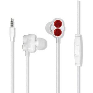 Casti PROMATE Ivory, Cu Fir, In-Ear, Microfon, alb-rosu