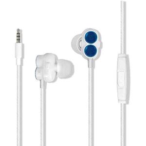 Casti PROMATE Ivory, Cu Fir, In-Ear, Microfon, alb-albastru