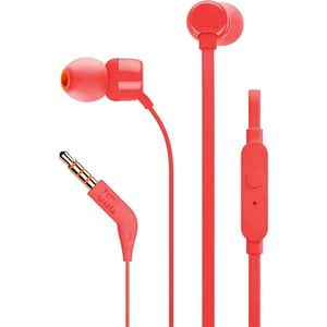 Casti JBL TUNE 110, Cu Fir, In-Ear, Microfon, rosu