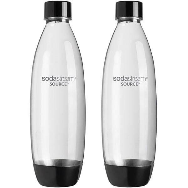 Set 2 sticle plastic SODASTREAM Source, 1l, transparent-negru