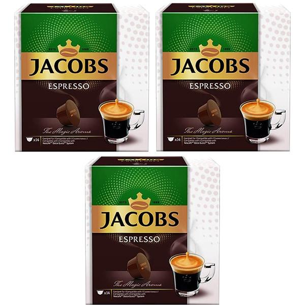 Set 3 x Capsule cafea JACOBS Espresso compatibilitate cu Nescafe Dolce Gusto, 42 capsule, 252g
