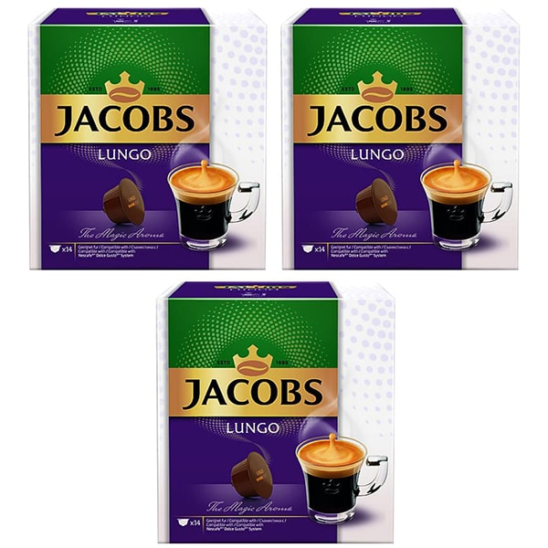 Set 3 x Capsule cafea JACOBS Lungo compatibilitate cu Nescafe Dolce Gusto, 42 capsule, 294g