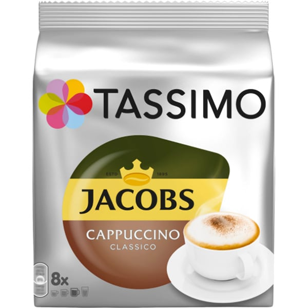 Capsule cafea JACOBS Tassimo Cappuccino, 8 capsule cafea + 8 capsule lapte, 260g