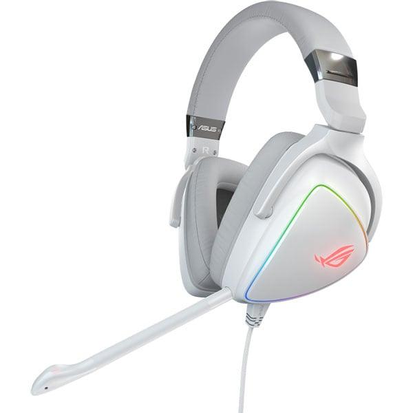 Casti Gaming ASUS ROG Delta White Edition, 7.1 surround, Hi-Res, USB, RGB, alb