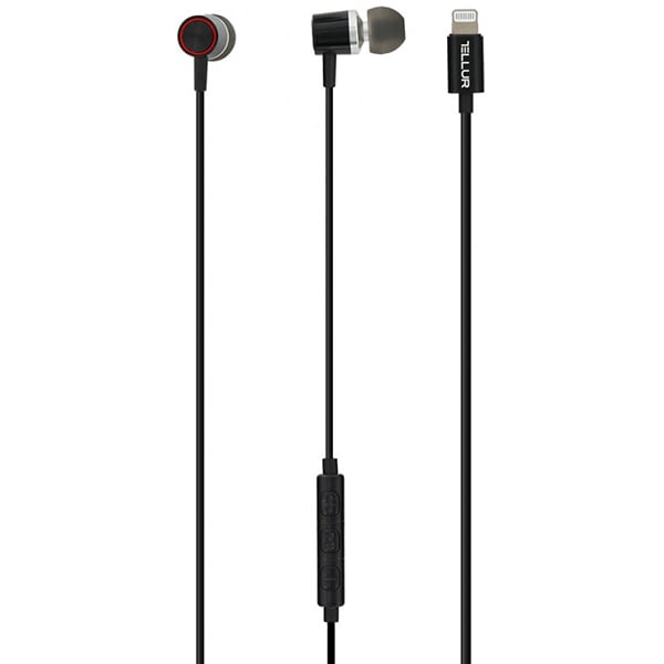 Casti TELLUR TLL162022, Cu Fir, In-Ear, Microfon, conector Lightning, negru