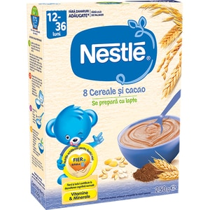 Cereale NESTLE 8 Cereale si cacao 12393657, 12 luni+, 250g