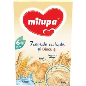 Cereale MILUPA MILUMIL 7 cereale cu lapte si biscuiti 611941, 6 luni+, 250g