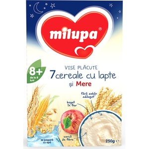 Cereale MILUPA MILUMIL Vise placute 7 cereale cu lapte si mere 619184, 8 luni+, 250g