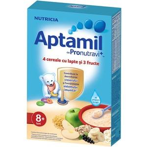 Cereale cu lapte si 3 fructe APTAMIL cu Pronutravi+ 619254, 8 luni+, 225g
