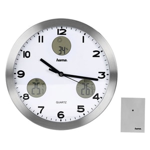 Ceas de perete HAMA Light Solar AG-300, statie meteo, argintiu