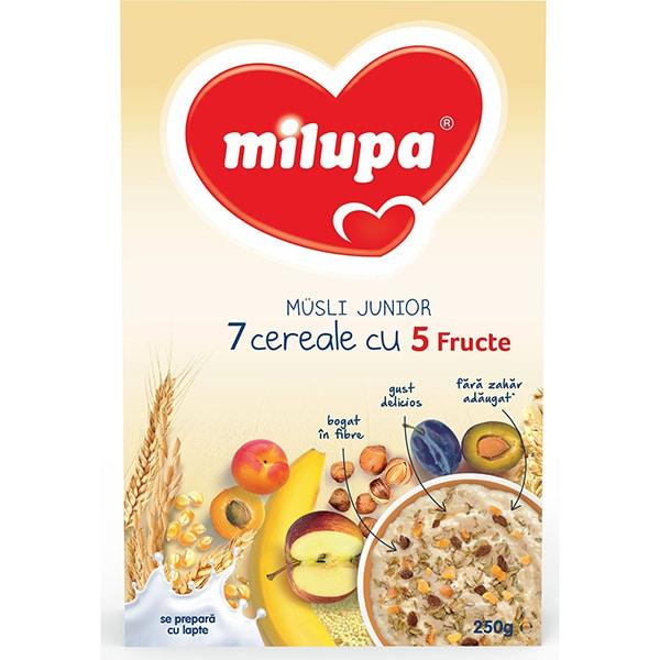 Cereale MILUPA MILUMIL Musli Junior 7 cereale cu 5 fructe 542121, 12 luni+, 250g